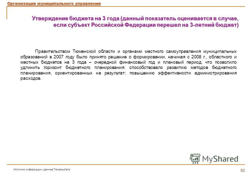 Утверждение бюджета на 3 года (данный показатель оценивается в случае, если субъект Российской Федерации перешел на 3-летний бюджет) Правительством Тюменской области и органами местного самоуправления муниципальных образований в 2007 году было принят