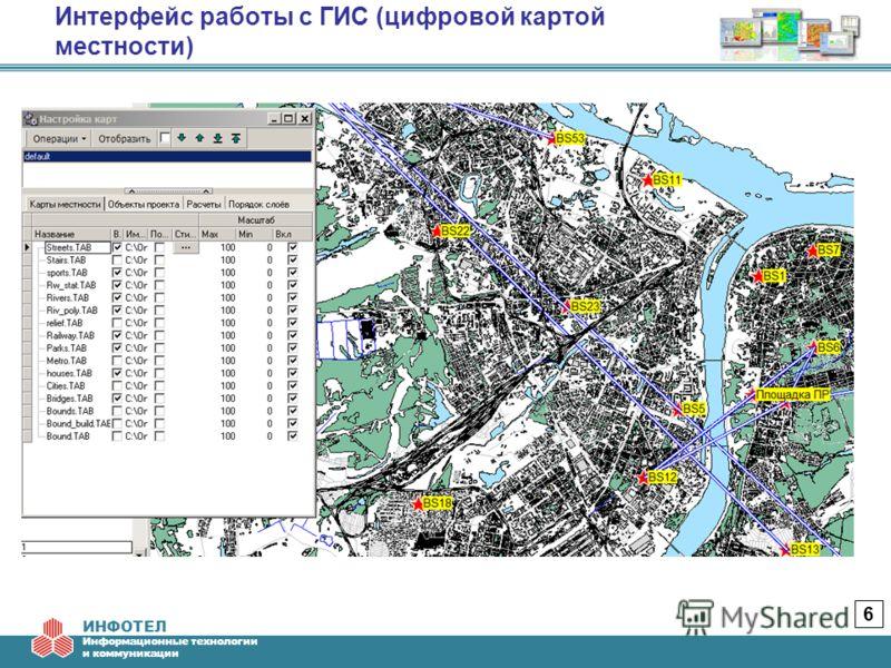 ИНФОТЕЛ Информационные технологии и коммуникации Интерфейс работы с ГИС (цифровой картой местности) 6