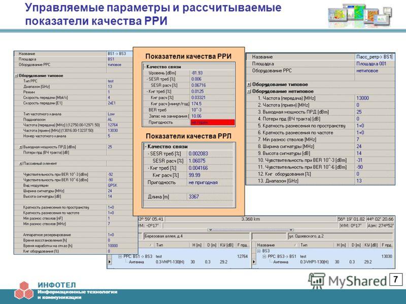 ИНФОТЕЛ Информационные технологии и коммуникации Управляемые параметры и рассчитываемые показатели качества РРИ 7 Показатели качества РРЛ Показатели качества РРИ