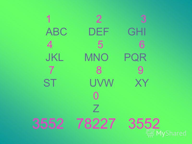 1 2 3 ABC DEF GHI 4 5 6 JKL MNO PQR 7 8 9 ST UVW XY 0 Z 3552 78227 3552
