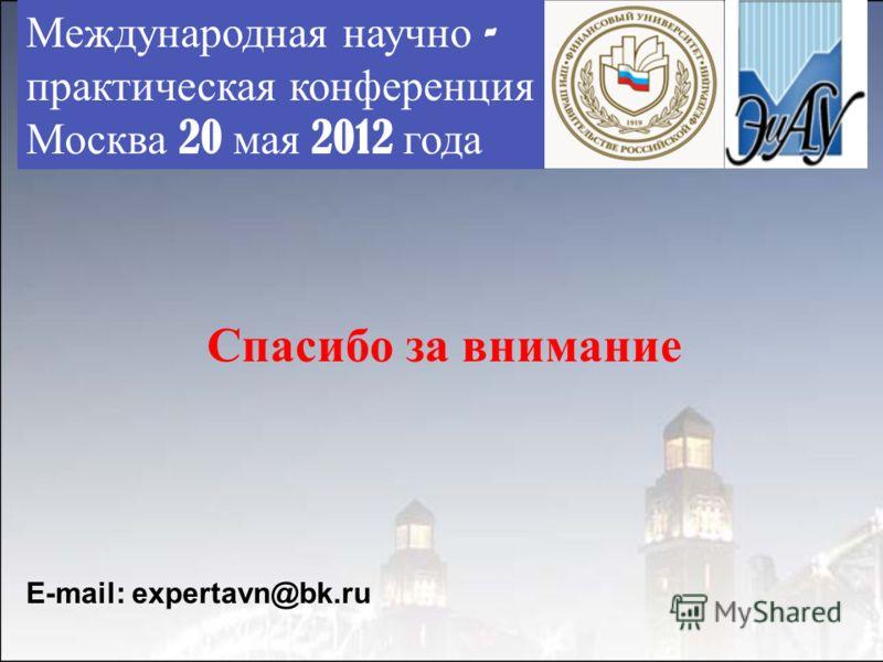 Международная научно - практическая конференция Москва 20 мая 2012 года Спасибо за внимание E-mail: expertavn@bk.ru