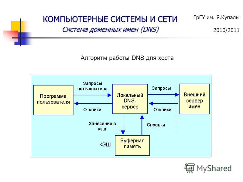 ГрГУ им. Я.Купалы 2010/2011 КОМПЬЮТЕРНЫЕ СИСТЕМЫ И СЕТИ Система доменных имен (DNS) Алгоритм работы DNS для хоста