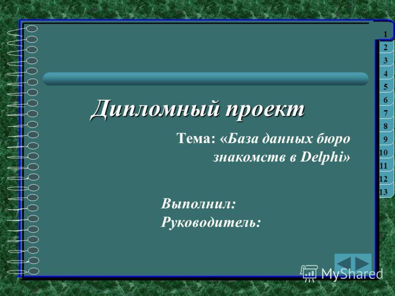 1313 12 1111 10 9 8 7 6 5 4 3 2 1 Дипломный проект Тема: «База данных бюро знакомств в Delphi» 1 Выполнил: Руководитель: