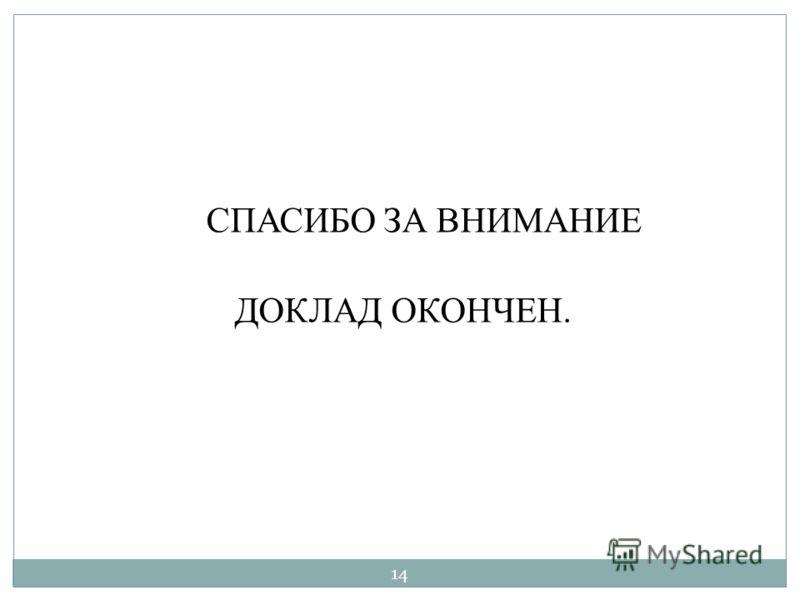 СПАСИБО ЗА ВНИМАНИЕ ДОКЛАД ОКОНЧЕН. 14