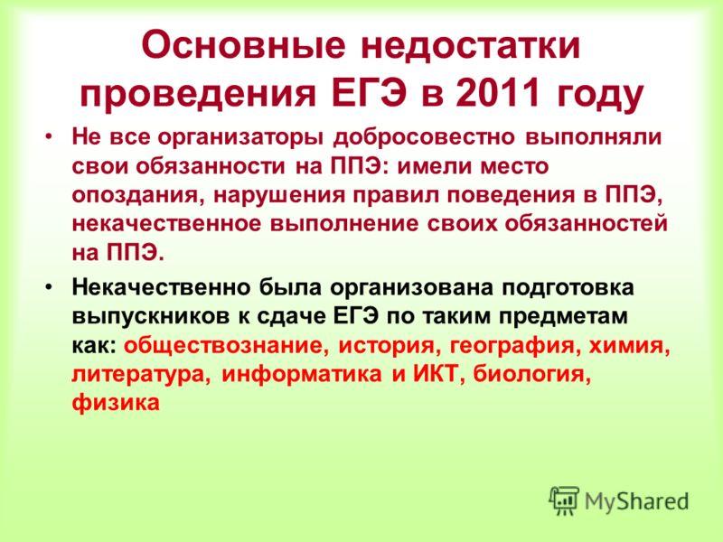 Основные недостатки проведения ЕГЭ в 2011 году Не все организаторы добросовестно выполняли свои обязанности на ППЭ: имели место опоздания, нарушения правил поведения в ППЭ, некачественное выполнение своих обязанностей на ППЭ. Некачественно была орган
