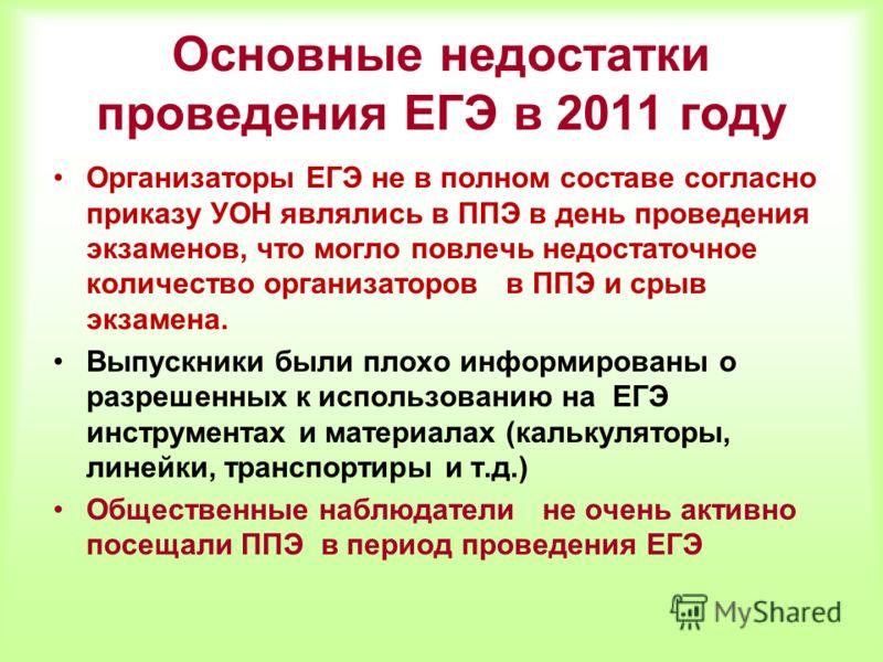 Основные недостатки проведения ЕГЭ в 2011 году Организаторы ЕГЭ не в полном составе согласно приказу УОН являлись в ППЭ в день проведения экзаменов, что могло повлечь недостаточное количество организаторов в ППЭ и срыв экзамена. Выпускники были плохо