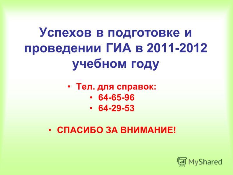 Успехов в подготовке и проведении ГИА в 2011-2012 учебном году Тел. для справок: 64-65-96 64-29-53 СПАСИБО ЗА ВНИМАНИЕ!