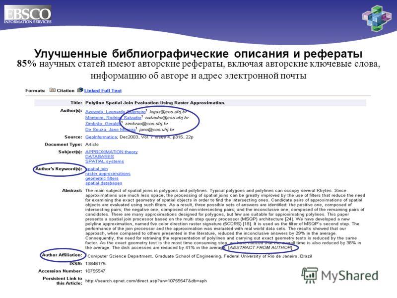 Улучшенные библиографические описания и рефераты 85% научных статей имеют авторские рефераты, включая авторские ключевые слова, информацию об авторе и адрес электронной почты
