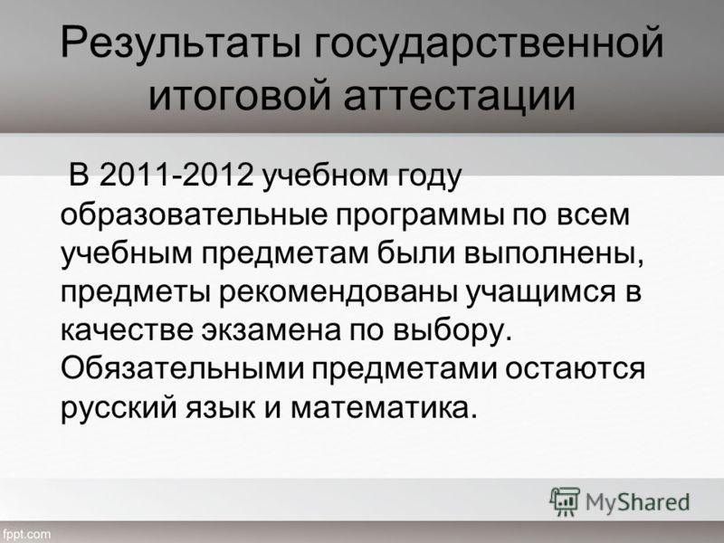 Результаты государственной итоговой аттестации В 2011-2012 учебном году образовательные программы по всем учебным предметам были выполнены, предметы рекомендованы учащимся в качестве экзамена по выбору. Обязательными предметами остаются русский язык