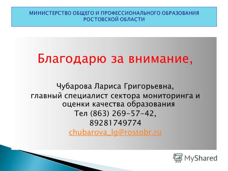 Благодарю за внимание, Чубарова Лариса Григорьевна, главный специалист сектора мониторинга и оценки качества образования Тел (863) 269-57-42, 89281749774 chubarova_lg@rostobr.ru