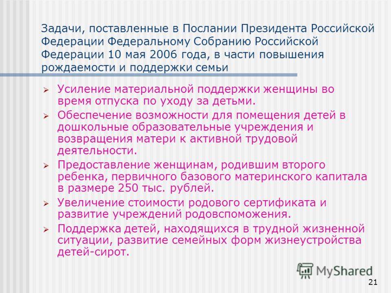 21 Задачи, поставленные в Послании Президента Российской Федерации Федеральному Собранию Российской Федерации 10 мая 2006 года, в части повышения рождаемости и поддержки семьи Усиление материальной поддержки женщины во время отпуска по уходу за детьм