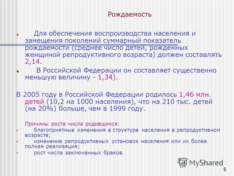 5 Рождаемость Для обеспечения воспроизводства населения и замещения поколений суммарный показатель рождаемости (среднее число детей, рожденных женщиной репродуктивного возраста) должен составлять 2,14. В Российской Федерации он составляет существенно