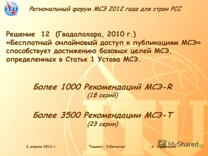 Региональный форум МСЭ 2012 года для стран РСС 12 Более 1000 Рекомендаций МСЭ-R (18 серий) Более 3500 Рекомендации МСЭ-Т (23 серии) Решение 12 (Гвадалахара, 2010 г.) «Бесплатный онлайновый доступ к публикациям МСЭ» способствует достижению базовых цел