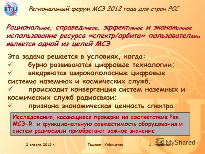 Региональный форум МСЭ 2012 года для стран РСС 22 Рационал ьное, справед ливое, эффект ивное и эконом ичное использование ресурса «спектр/орбита» пользовател ями является одной из целей МСЭ Исследования, касающиеся проверки на соответствие Рек. МСЭ-R