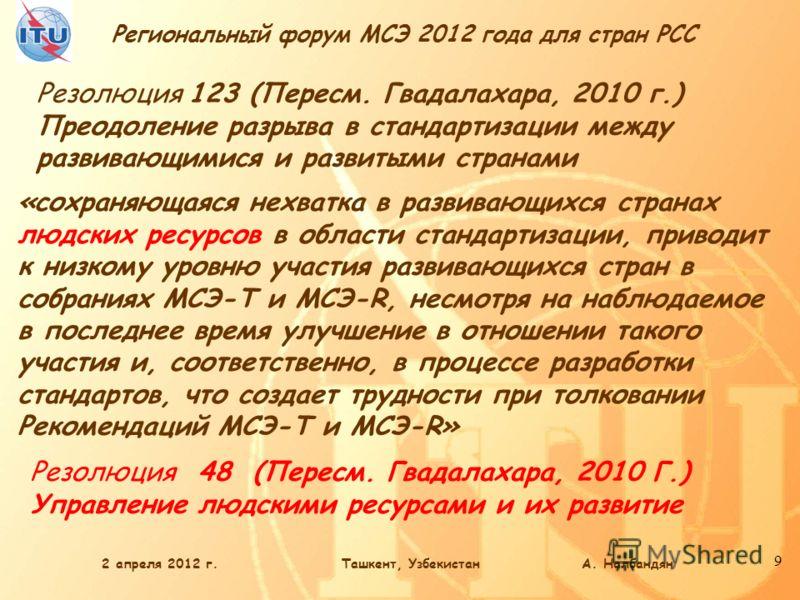Региональный форум МСЭ 2012 года для стран РСС 9 Резолюция 123 (Пересм. Гвадалахара, 2010 г.) Преодоление разрыва в стандартизации между развивающимися и развитыми странами «сохраняющаяся нехватка в развивающихся странах людских ресурсов в области ст