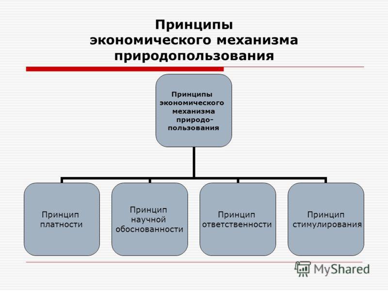 Принципы экономического механизма природопользования Принципы экономического механизма природо- пользования Принцип платности Принцип научной обоснованности Принцип ответственности Принцип стимулирования
