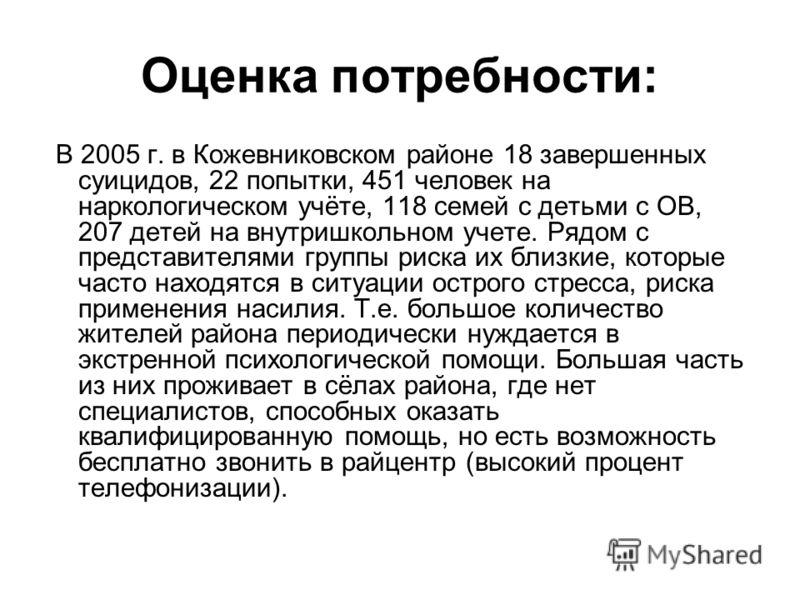 Оценка потребности: В 2005 г. в Кожевниковском районе 18 завершенных суицидов, 22 попытки, 451 человек на наркологическом учёте, 118 семей с детьми с ОВ, 207 детей на внутришкольном учете. Рядом с представителями группы риска их близкие, которые част