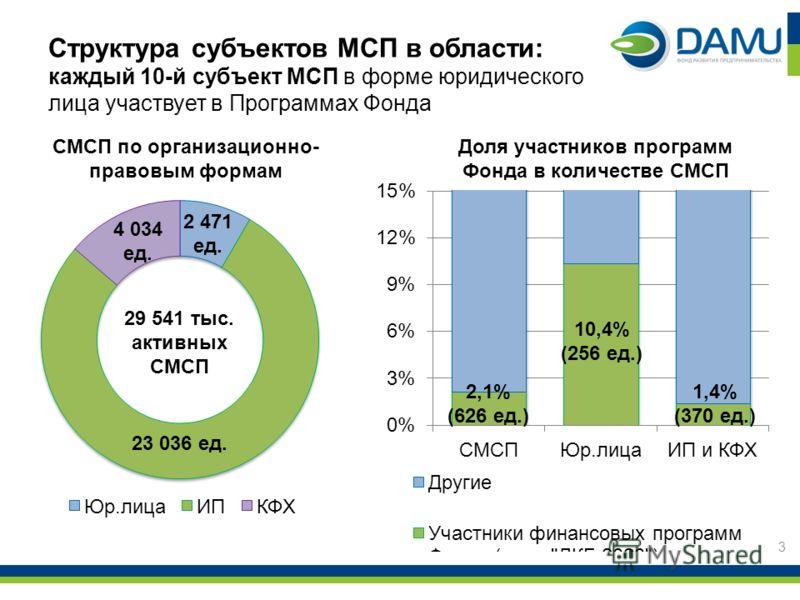 Структура субъектов МСП в области: каждый 10-й субъект МСП в форме юридического лица участвует в Программах Фонда 3 2,1% (626 ед.) 10,4% (256 ед.) 1,4% (370 ед.) 2 471 ед. 23 036 ед. 4 034 ед. 29 541 тыс. активных СМСП СМСП по организационно- правовы
