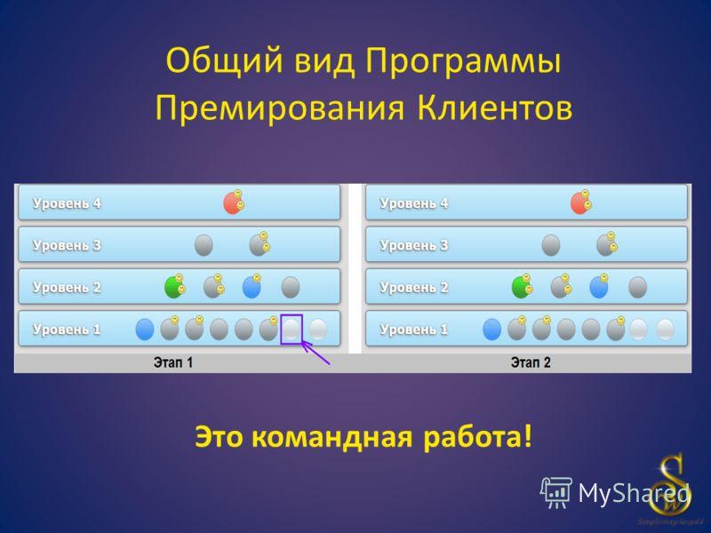 Общий вид Программы Премирования Клиентов Это командная работа!