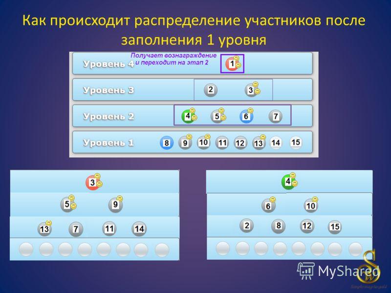 Как происходит распределение участников после заполнения 1 уровня