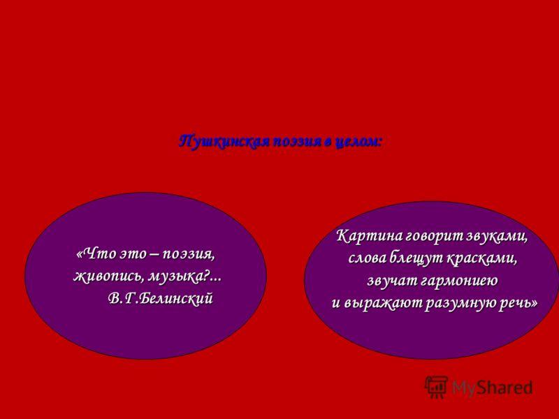 Пушкинская поэзия в целом: «Что это – поэзия, живопись, музыка?... живопись, музыка?... В.Г.Белинский В.Г.Белинский Картина говорит звуками, слова блещут красками, слова блещут красками, звучат гармониею и выражают разумную речь» и выражают разумную