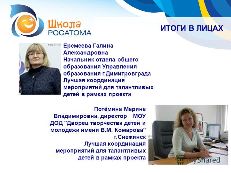 ИТОГИ В ЛИЦАХ Потёмина Марина Владимировна, директорМОУ ДОД