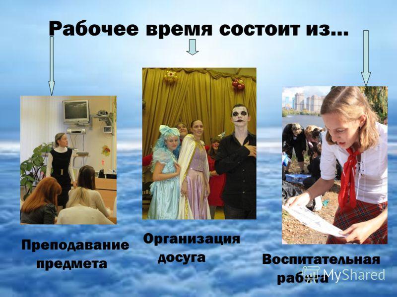 Рабочее время состоит из… Воспитательная работа Преподавание предмета Организация досуга