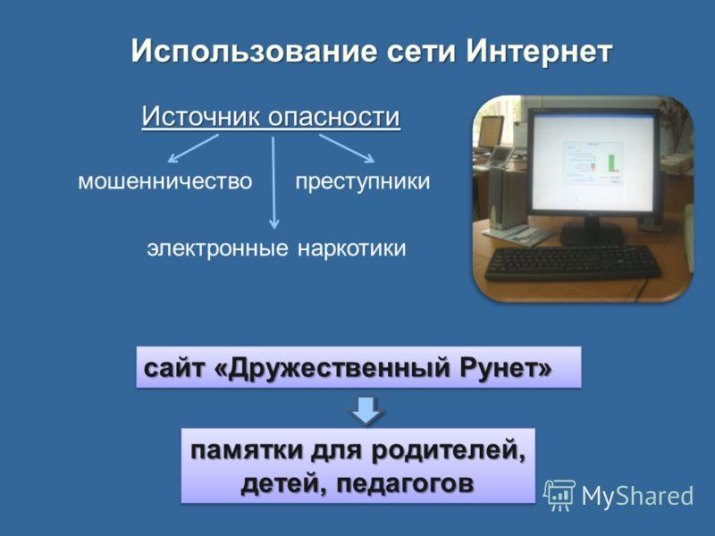 Использование сети Интернет сайт «Дружественный Рунет» памятки для родителей, детей, педагогов памятки для родителей, детей, педагогов Источник опасности мошенничествопреступники электронные наркотики