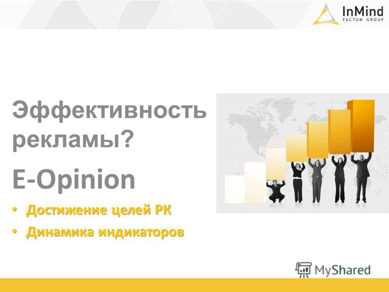 Эффективность рекламы? E-Opinion Достижение целей РК Достижение целей РК Динамика индикаторов Динамика индикаторов