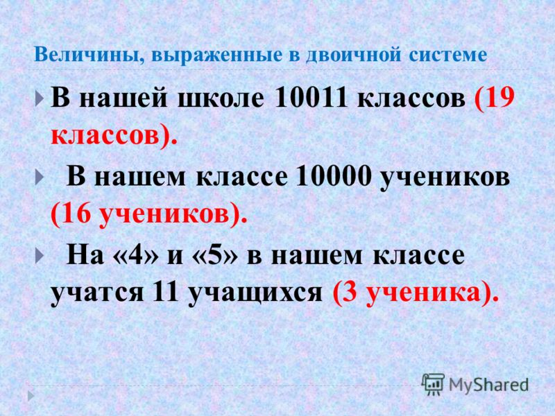 Величины, выраженные в двоичной системе В нашей школе 10011 классов (19 классов). В нашем классе 10000 учеников (16 учеников). На «4» и «5» в нашем классе учатся 11 учащихся (3 ученика).