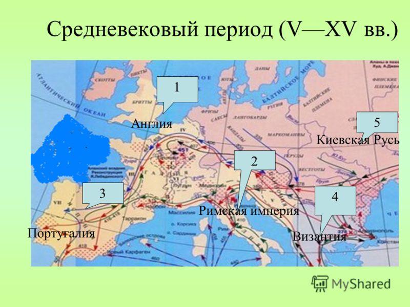 Средневековый период (VXV вв.) 1 Англия 2 Римская империя 3 Португалия 4 Византия 5 Киевская Русь
