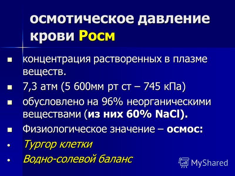 осмотическое давление крови Росм концентрация растворенных в плазме веществ. концентрация растворенных в плазме веществ. 7,3 атм (5 600мм рт ст – 745 кПа) 7,3 атм (5 600мм рт ст – 745 кПа) обусловлено на 96% неорганическими веществами (из них 60% NaC
