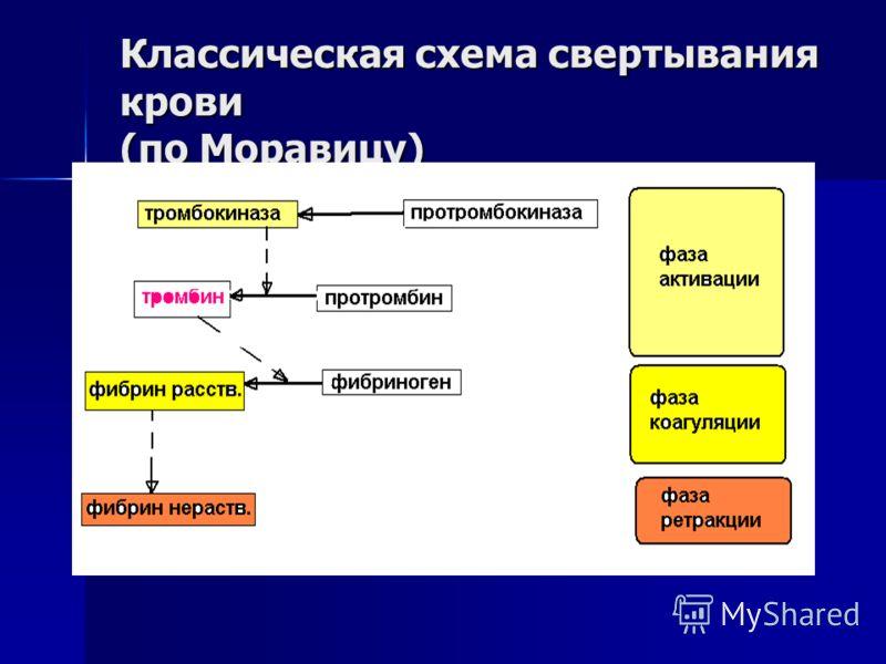 Классическая схема свертывания крови (по Моравицу)