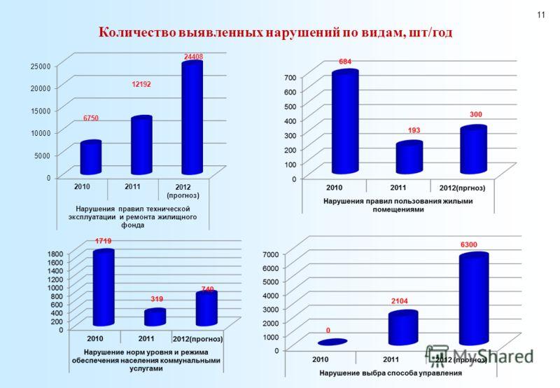 Количество выявленных нарушений по видам, шт/год 11