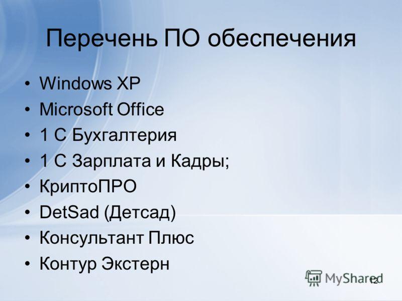Перечень ПО обеспечения Windows XP Microsoft Office 1 С Бухгалтерия 1 С Зарплата и Кадры; КриптоПРО DetSad (Детсад) Консультант Плюс Контур Экстерн 12