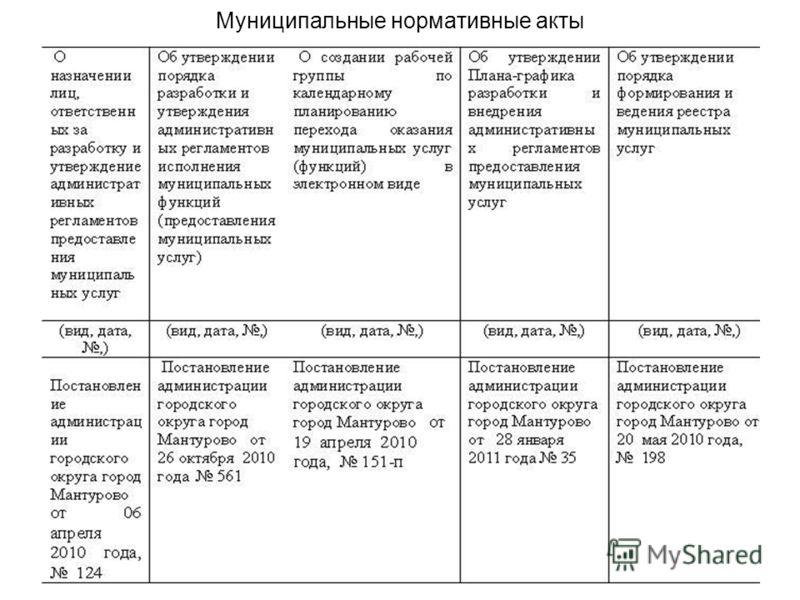 Муниципальные нормативные акты
