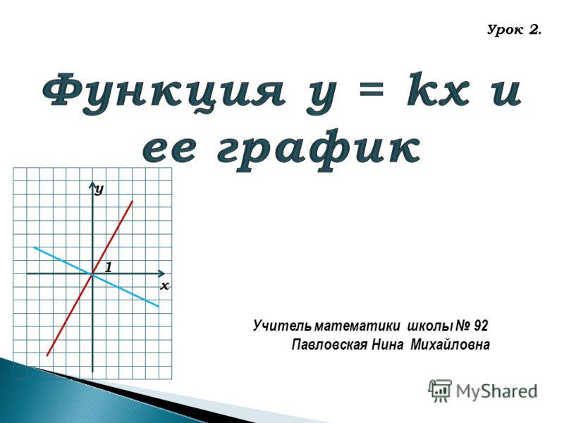 у х 1 Учитель математики школы 92 Павловская Нина Михайловна Урок 2.