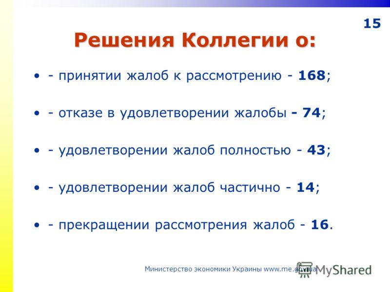 15 Решения Коллегии о: - принятии жалоб к рассмотрению - 168; - отказе в удовлетворении жалобы - 74; - удовлетворении жалоб полностью - 43; - удовлетворении жалоб частично - 14; - прекращении рассмотрения жалоб - 16. Министерство экономики Украины ww