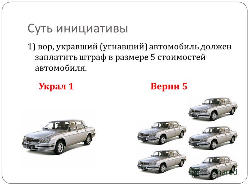 Законодательная инициатива « Украл 1 автомобиль – верни 5» Законодательная инициатива « Украл автомобиль - верни 5» практически моментально решит проблему автоугонов. После принятия этого закона ваша машина будет защищена от хищений так же надежно, к
