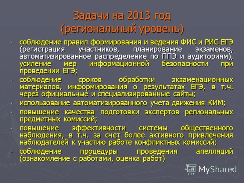 15 Задачи на 2013 год (региональный уровень) - соблюдение правил формирования и ведения ФИС и РИС ЕГЭ (регистрация участников, планирование экзаменов, автоматизированное распределение по ППЭ и аудиториям), усиление мер информационной безопасности при