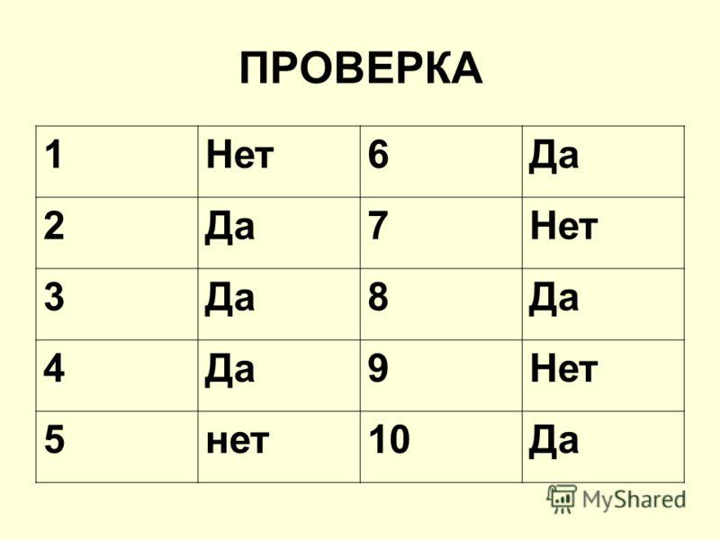 ПРОВЕРКА 1Нет6Да 2 7Нет 3Да8 4 9Нет 5нет10Да