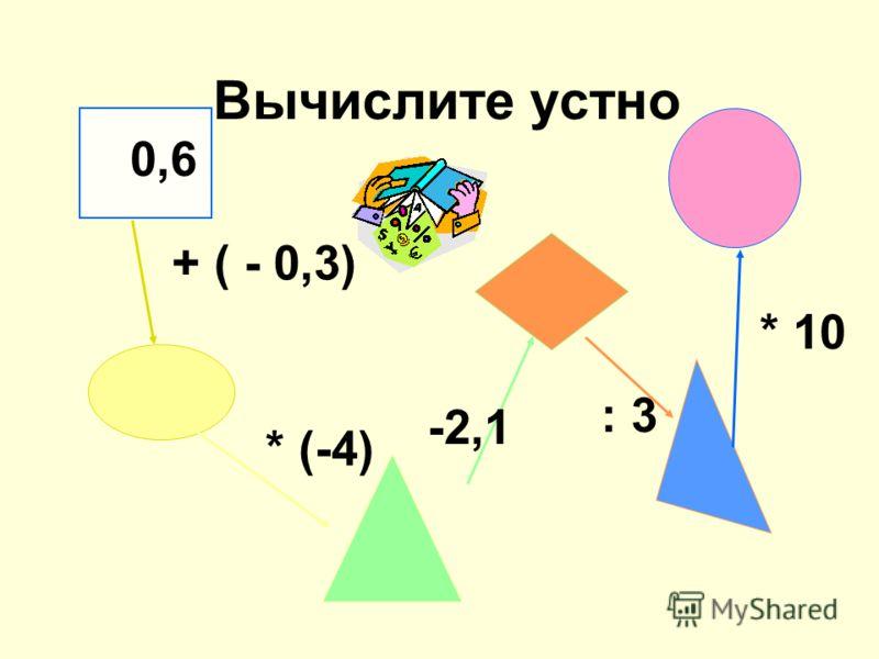 Вычислите устно 0,6 + ( - 0,3) * (-4) -2,1 : 3 * 10