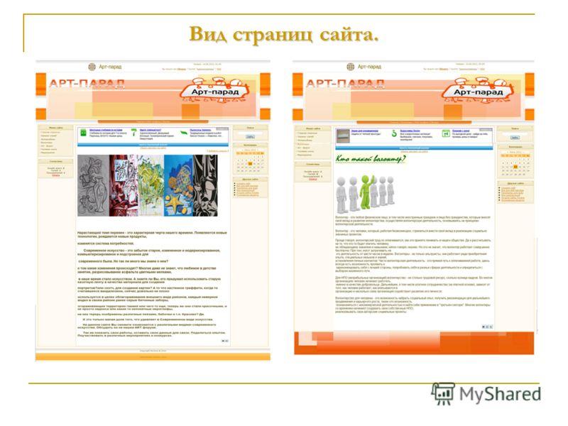 Вид страниц сайта.