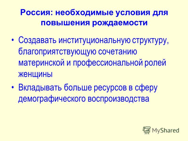 Россия: необходимые условия для повышения рождаемости Создавать институциональную структуру, благоприятствующую сочетанию материнской и профессиональной ролей женщины Вкладывать больше ресурсов в сферу демографического воспроизводства