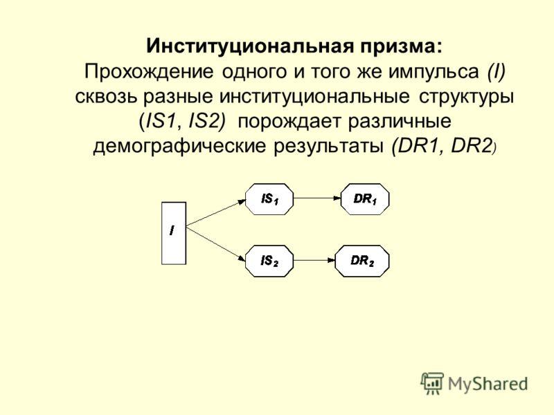 Институциональная призма: Прохождение одного и того же импульса (I) сквозь разные институциональные структуры (IS1, IS2) порождает различные демографические результаты (DR1, DR2 )