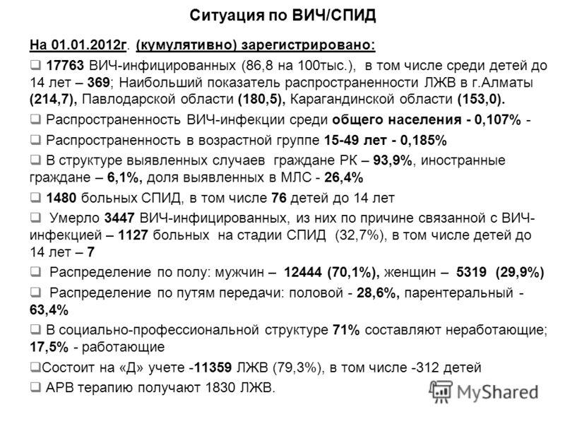 Ситуация по ВИЧ/СПИД На 01.01.2012г. (кумулятивно) зарегистрировано: 17763 ВИЧ-инфицированных (86,8 на 100тыс.), в том числе среди детей до 14 лет – 369; Наибольший показатель распространенности ЛЖВ в г.Алматы (214,7), Павлодарской области (180,5), К