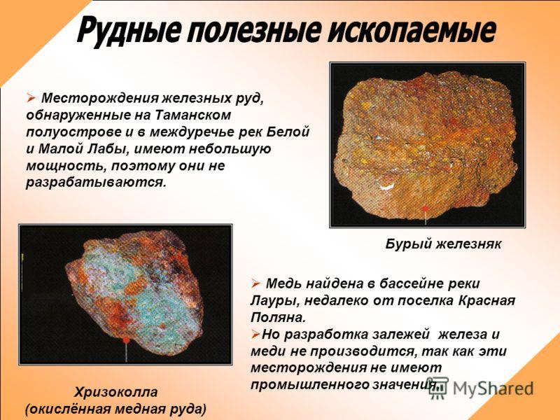 Месторождения железных руд, обнаруженные на Таманском полуострове и в междуречье рек Белой и Малой Лабы, имеют небольшую мощность, поэтому они не разрабатываются. Медь найдена в бассейне реки Лауры, недалеко от поселка Красная Поляна. Но разработка з