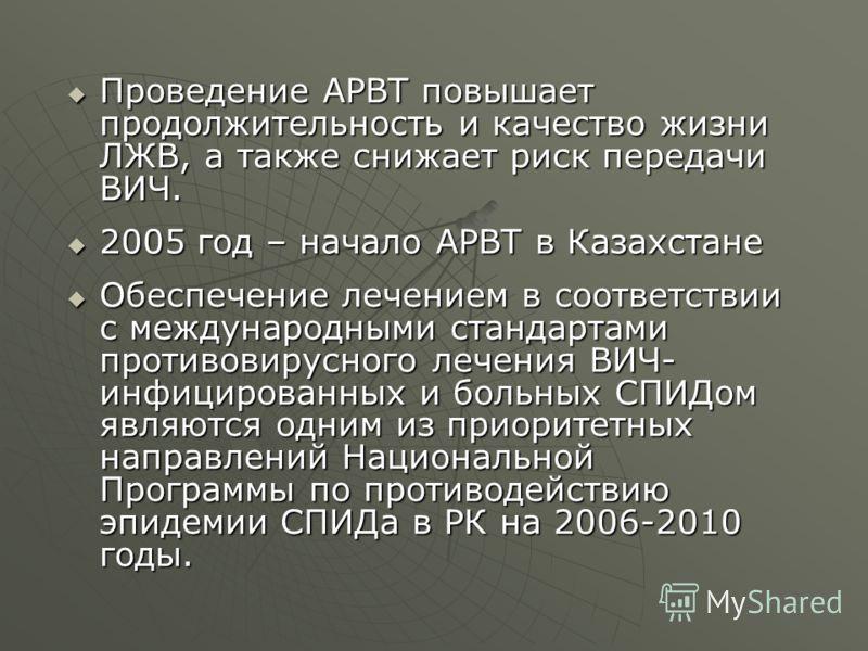 Проведение АРВТ повышает продолжительность и качество жизни ЛЖВ, а также снижает риск передачи ВИЧ. Проведение АРВТ повышает продолжительность и качество жизни ЛЖВ, а также снижает риск передачи ВИЧ. 2005 год – начало АРВТ в Казахстане 2005 год – нач