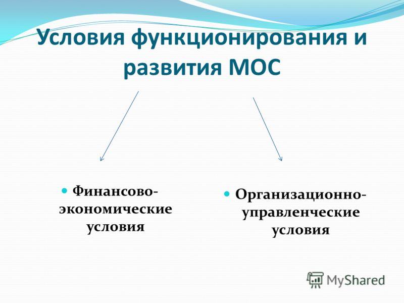 Условия функционирования и развития МОС Финансово- экономические условия Организационно- управленческие условия