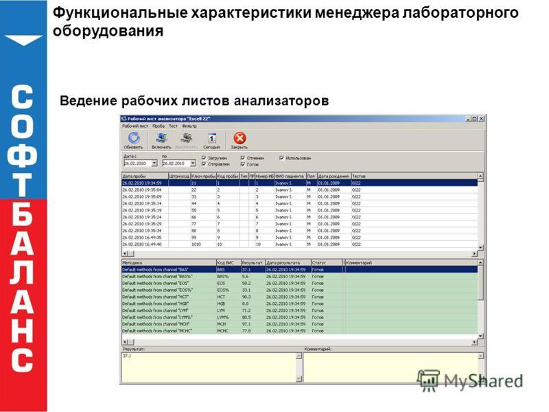 Функциональные характеристики менеджера лабораторного оборудования Ведение рабочих листов анализаторов
